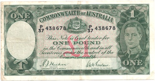 One pound Sheehan McFarlane Australian Banknote, 'good Fine'