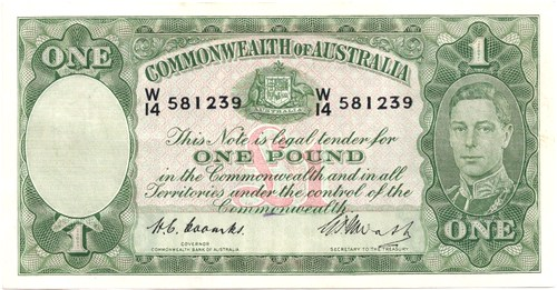 One pound Coombs Watt Australian Banknote, 'Very Fine'